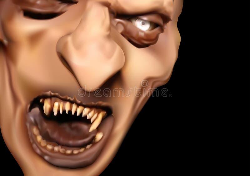 Szatan twarz z Strasznymi zębami ilustracji