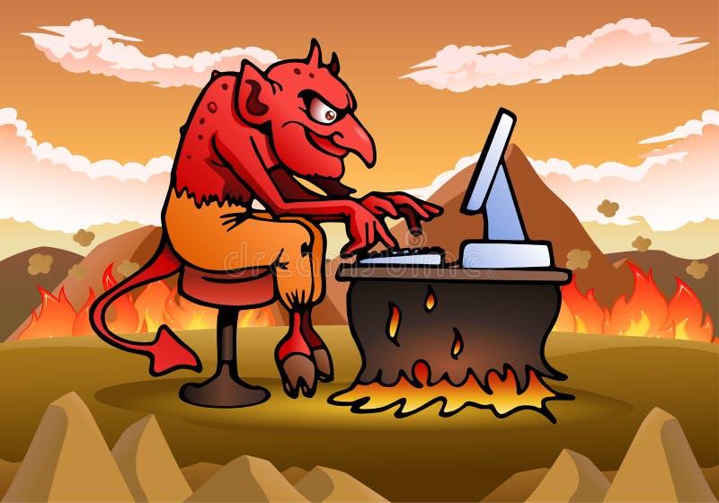 Szatan używać komputer ilustracja wektor