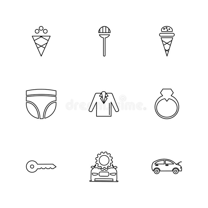 szaty, płótna, odzież, suknia, eps ikony ustawiają wektor royalty ilustracja