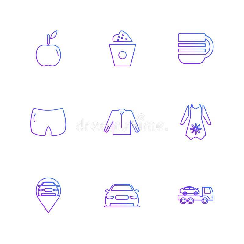 szaty, płótna, odzież, suknia, eps ikony ustawiają wektor ilustracja wektor