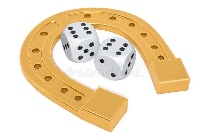Szczęścia pojęcie, podkowa i kasyno kostki do gry, świadczenia 3 d ilustracji