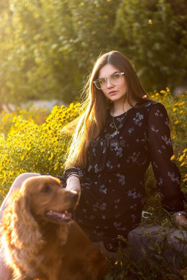Szczęśliwa dziewczyna bawić się z czerwień psem na zielonej trawie w outdoors natury parku, pięknej młodej kobiecie i psich przyj zdjęcie stock