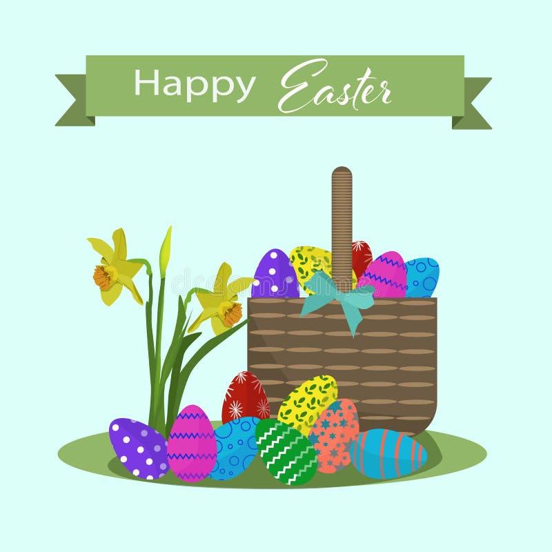 Szczęśliwa Easter greating karta z kolorowymi jajkami i koszem royalty ilustracja
