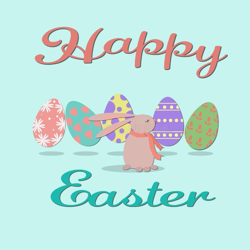 Szczęśliwa Easter ilustracja z śmiesznym płaskim królikiem i Easter jajkami ilustracja wektor
