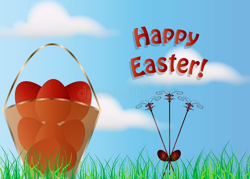 Szczęśliwa Easter karty ilustracja - kosz z Wielkanocnymi jajkami w naturze ilustracji