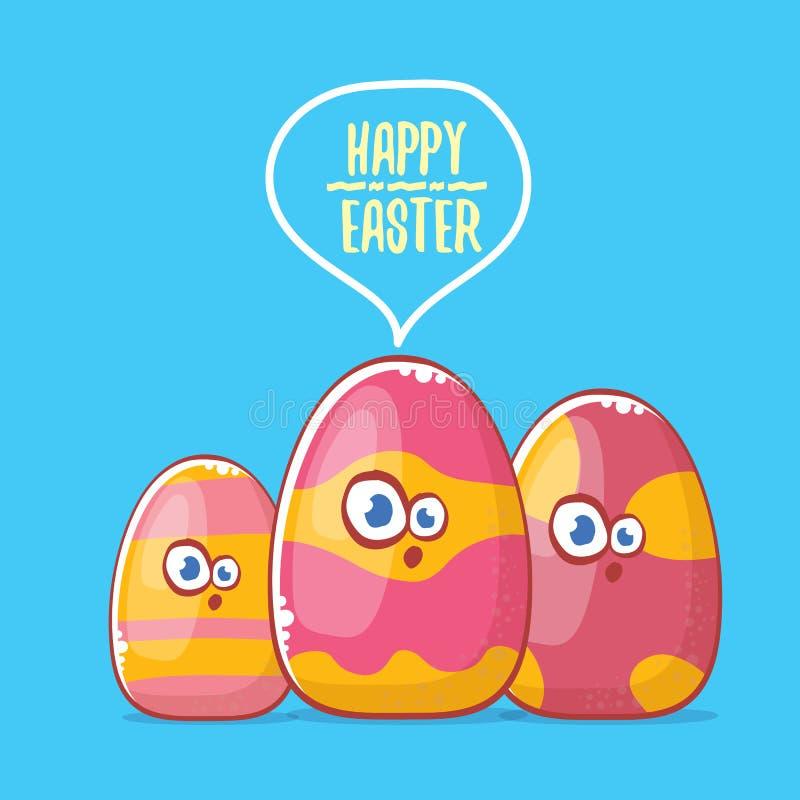 Szczęśliwa Easter kreskówki kartka z pozdrowieniami z ślicznej kreskówki jajecznym charakterem odizolowywa na błękitnym tle Wekto ilustracja wektor