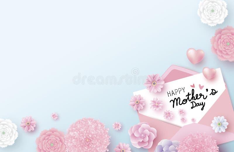 Szczęśliwa matka dnia wiadomość na białej księdze w kopercie i kwiatach z sercem ilustracja wektor
