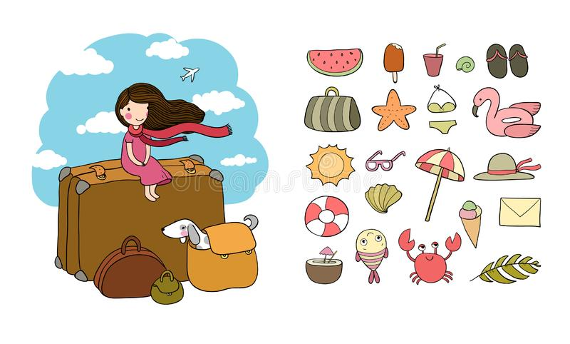 szczęśliwa podróż Śliczna kreskówki dziewczyna, pies i walizki, Bon podróż ilustracji