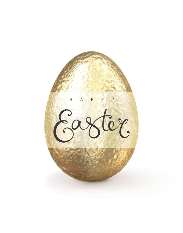 Szczęśliwa realistyczna złocista błyskotliwość dekorujący Easter jajko ilustracja wektor