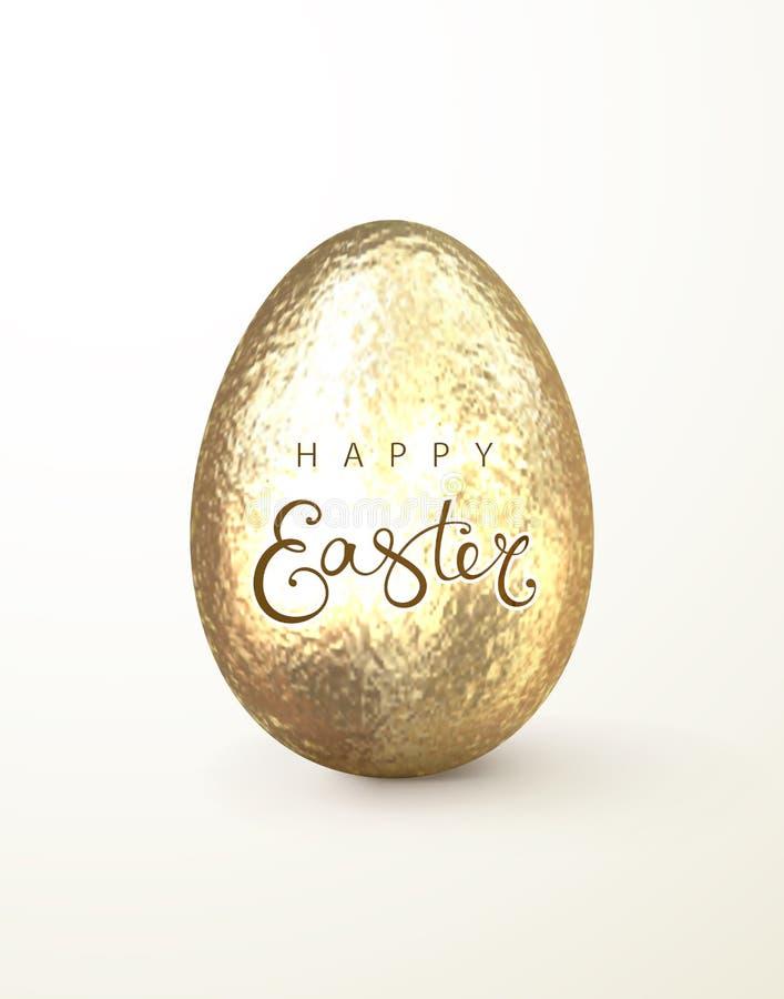Szczęśliwa realistyczna złocista błyskotliwość dekorujący Easter jajko royalty ilustracja