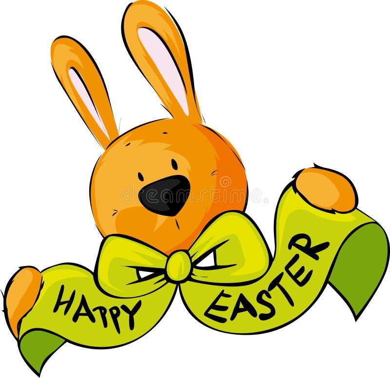 Szczęśliwa Wielkanocna życzenie łęku królika wektoru ilustracja royalty ilustracja