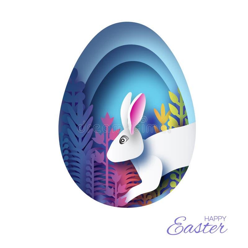 Szczęśliwa Wielkanocna kartka z pozdrowieniami z papieru królika rżniętym królikiem, kolorowa wiosna kwitnie Origami kształta Błę ilustracji