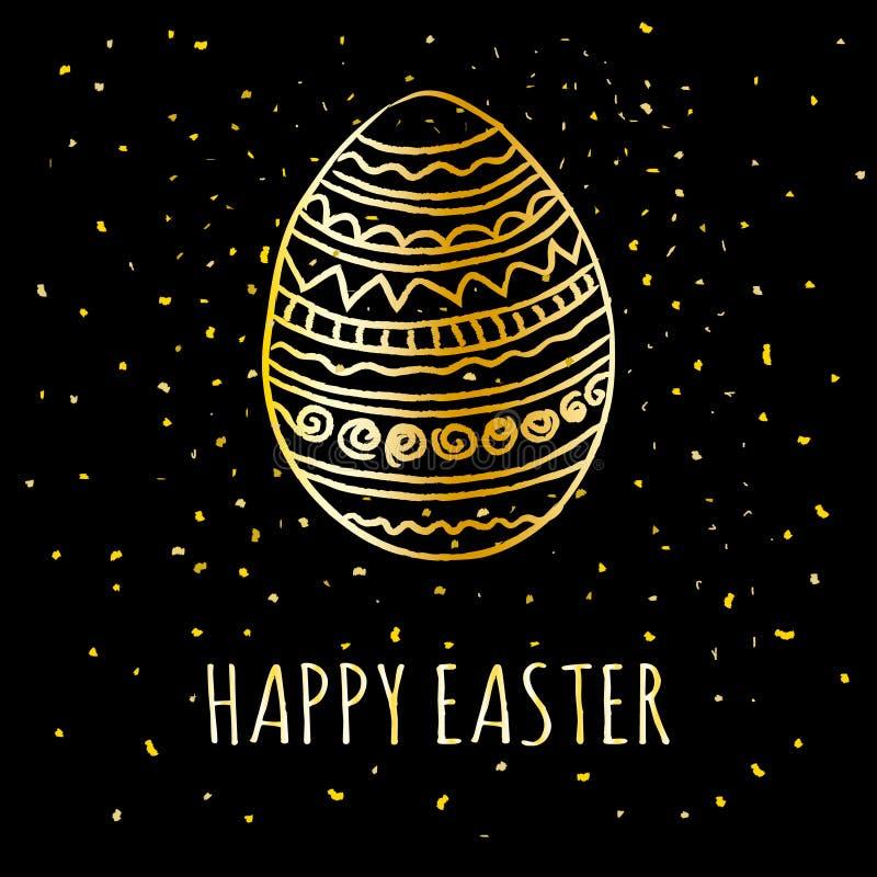 Szczęśliwa Wielkanocna kartka z pozdrowieniami z złotą ręką rysującą dekorował Easter jajko z błyskotliwością i lśnienie na czarn ilustracji
