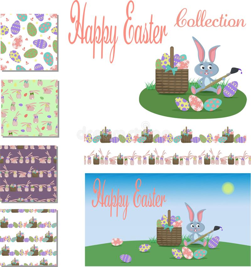 Szczęśliwa Wielkanocna kolekcja royalty ilustracja