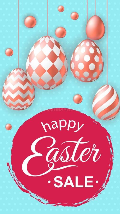 Szczęśliwa Wielkanocna sprzedaży ulotka, opowieść z realistycznymi różowymi złotymi jajkami ilustracji