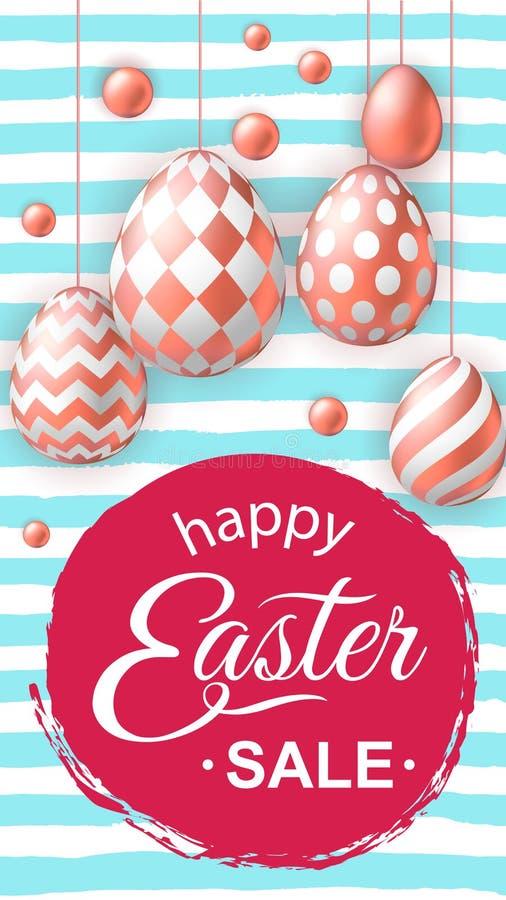 Szczęśliwa Wielkanocna sprzedaży ulotka, opowieść z realistycznymi różowymi złotymi jajkami ilustracja wektor