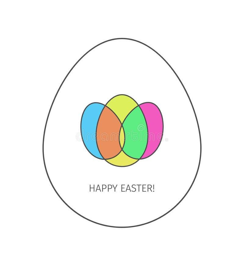 Szczęśliwa Wielkanocnego jajka liniowa ikona ilustracja wektor