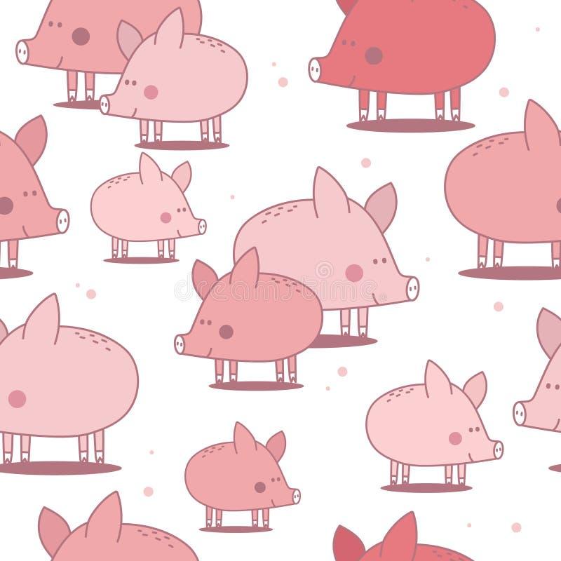 Szczęśliwe świnie, kolorowy śliczny bezszwowy wzór ilustracji