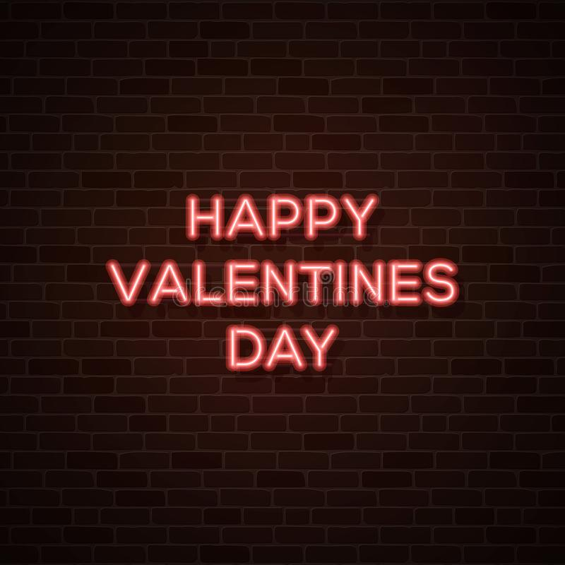 szczęśliwe dni valentines 80s stylowy rozjarzony neonowy tekst ilustracji