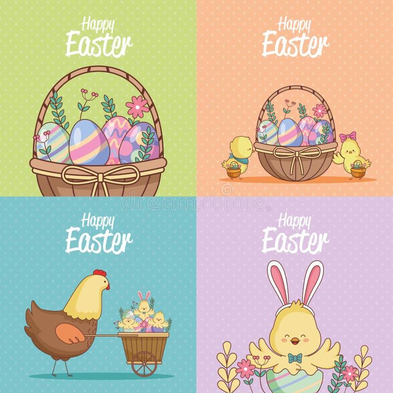 Szczęśliwe Easter karty inkasowe ilustracji