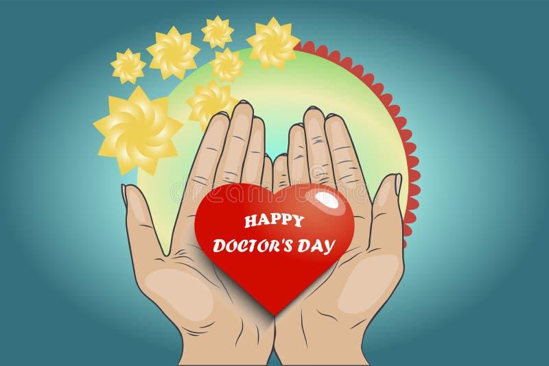Szczęśliwe lekarka dnia ilustracji kobiet ręki trzymają serce ilustracja wektor