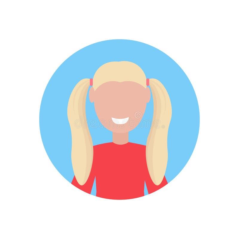 Szczęśliwego blondynki dziewczyny twarzy avatar małego dziecka postaci z kreskówki żeńskiego portreta płaski biały tło royalty ilustracja