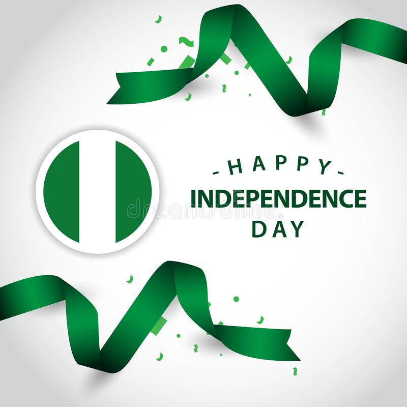 Szczęśliwego Nigeria dnia niepodległości szablonu projekta Wektorowa ilustracja ilustracji
