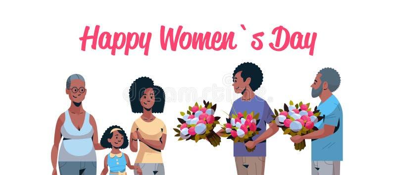 Szczęśliwego wielo- pokolenia gratulowania rodzinne kobiety z zawody międzynarodowi 8 marszu dnia pojęcia mężczyznami daje kwiaty ilustracja wektor