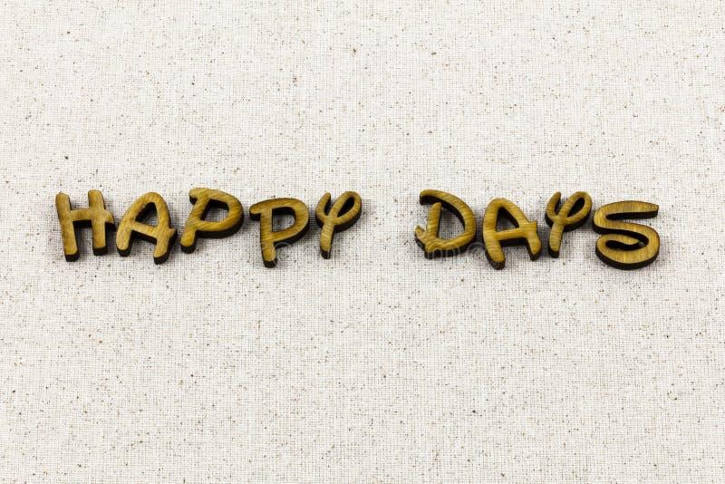 Szczęśliwi dni tutaj znowu świętują cieszą się letterpress typ zdjęcia royalty free