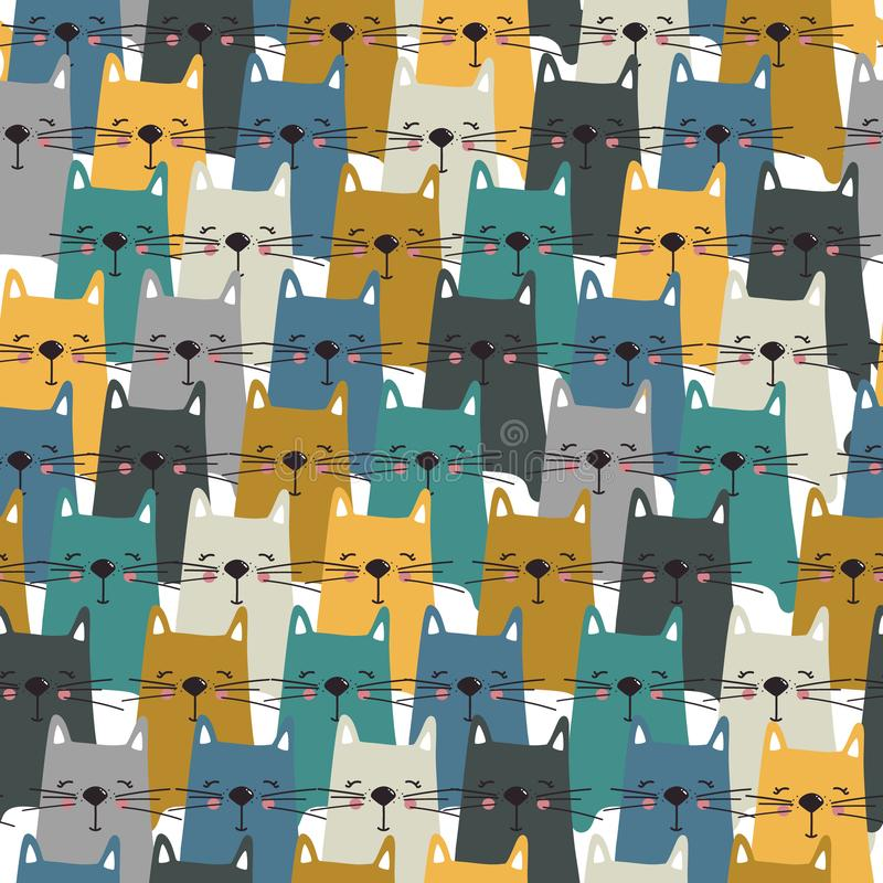 Szczęśliwi koty, kolorowy bezszwowy wzór ilustracji