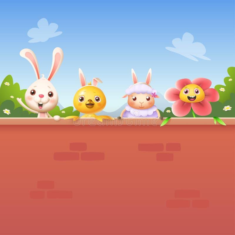 Szczęśliwi przyjaciele świętują wielkanoc za ścianą - królika kurczaka kwiat i baranek royalty ilustracja