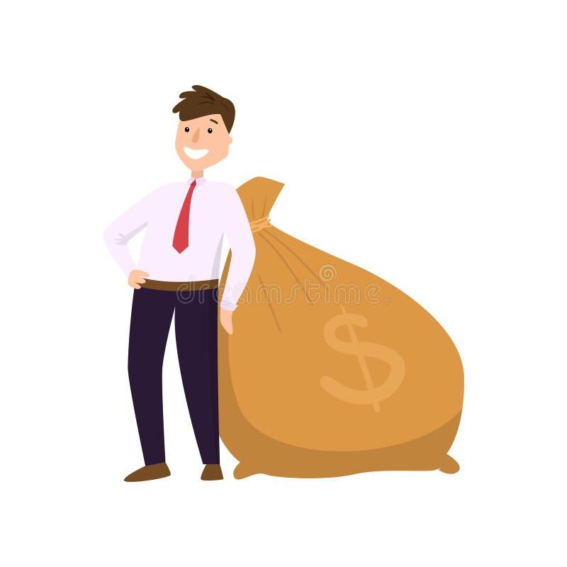 Szczęśliwy biznesmen stoi blisko dużej ciężkiej torby z dolarowym znakiem w kostiumu ilustracja wektor