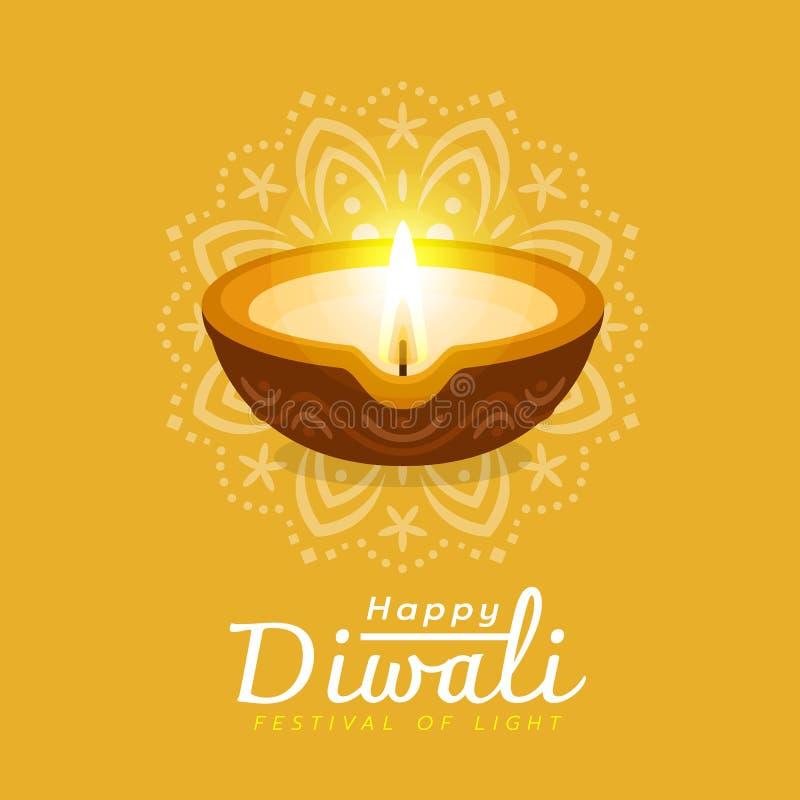 Szczęśliwy Diwali festiwal z diwali lampy światłem i abstrakcjonistycznego okregów ind tekstury żółtego tła wektorowym projektem ilustracja wektor