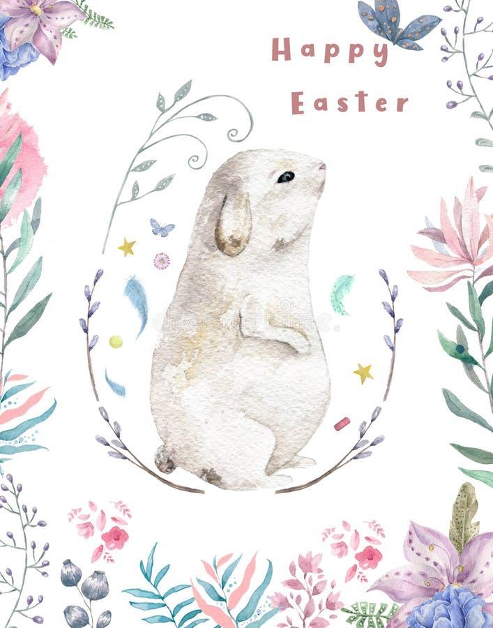 Szczęśliwy Easter, akwareli karta Śliczny królik w liść gałąź Odosobniona ilustracja, menchia kwitnie tło obrazu wierzby ilustracja wektor