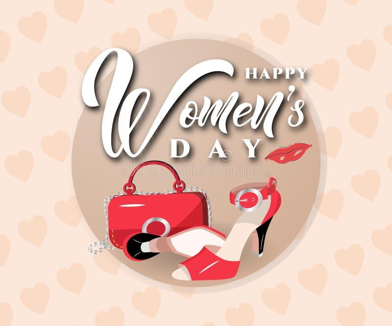Szczęśliwy kobieta dnia teksta projekt z torbą, buty, wargi na różowym tle z sercami również zwrócić corel ilustracji wektora royalty ilustracja