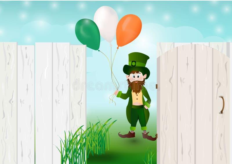 Szczęśliwy leprechaun rozdziera za papierowego powitania szczęśliwym st patric ilustracji