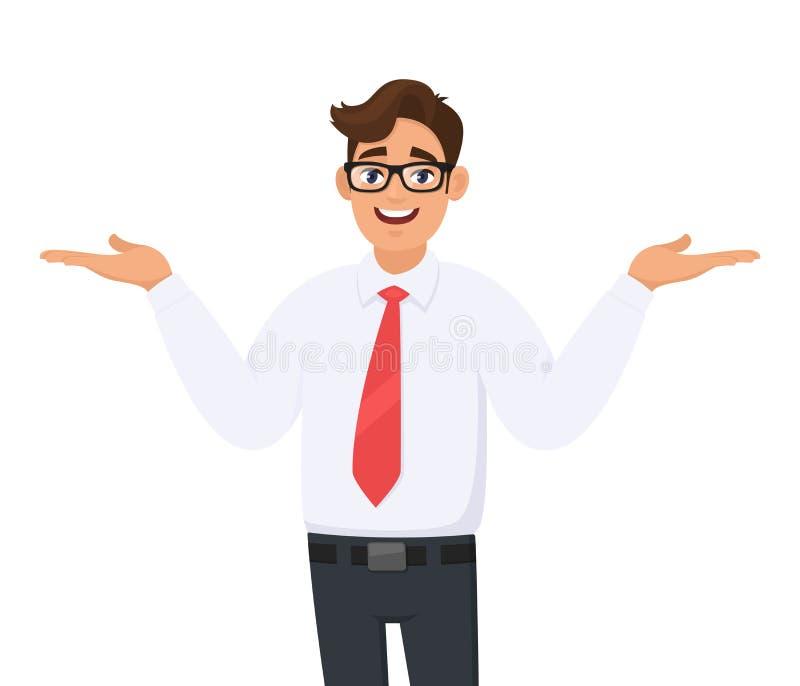 Szczęśliwy młody biznesmen rozprzestrzenia lub gest ręki kopiować przestrzeń boczną dla reklama produktu daleko od, przedstawiają ilustracji