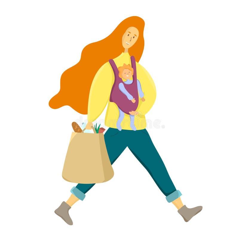 Szczęśliwy macierzyństwa pojęcie Mama z dziecka i sklepu spożywczego torbą Supermom, ruchliwie matka ilustracji