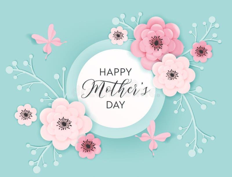 Szczęśliwy matka dnia wakacje sztandar Macierzystego dnia kartki z pozdrowieniami wiosny papieru Rżnięty projekt z kwiatami i Mot ilustracji