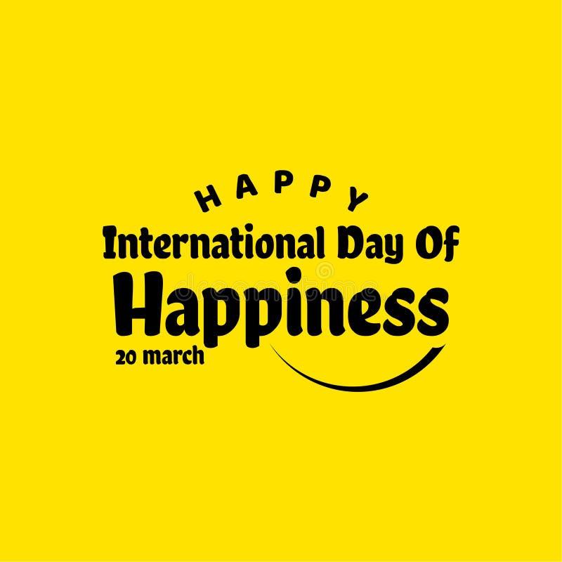 Szczęśliwy Międzynarodowy dzień szczęście szablonu projekta Wektorowa ilustracja ilustracji