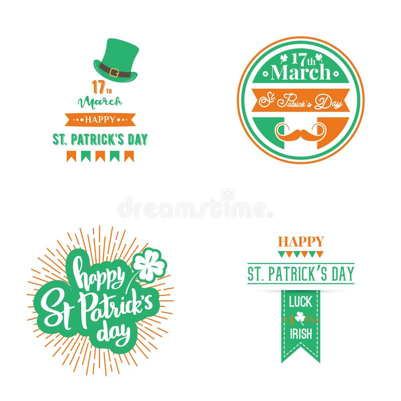 Szczęśliwy St Patrick dnia set ilustracji