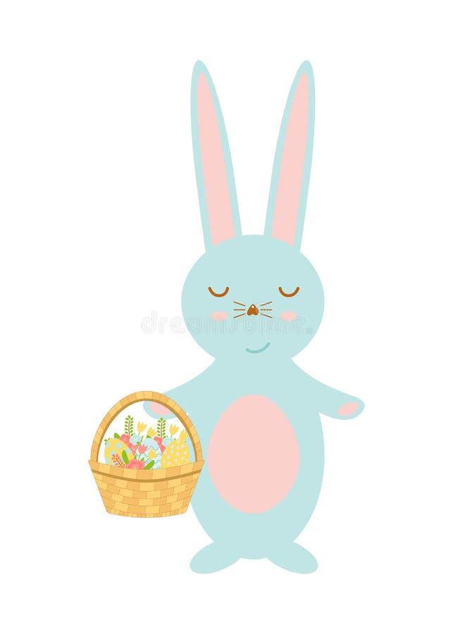 Szczęśliwy Wielkanocnego królika mienia kosz z jajkami i wiosną kwitnie Śliczna królik postać z kreskówki ilustracji