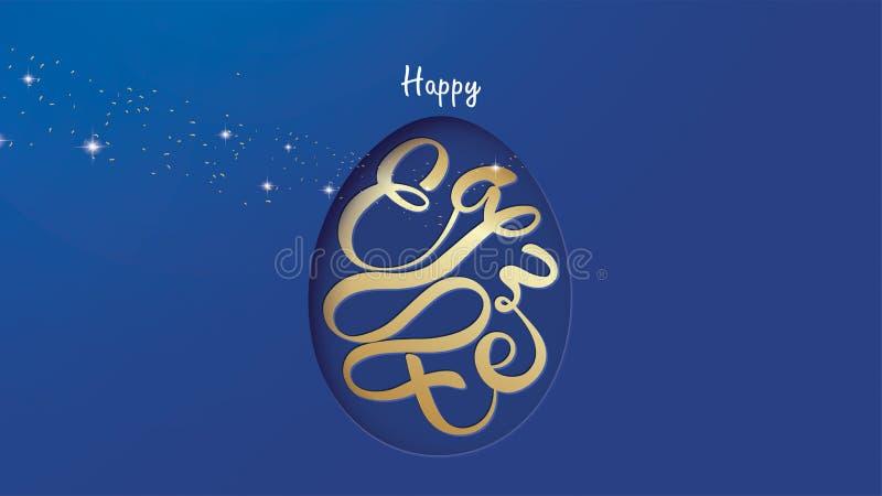 Szczęśliwy Wielkanocny literowania tło w jajecznej kształt ramie z confetti, złoty szczotkarski pluśnięcie, światło, gwiazdy, bły ilustracja wektor