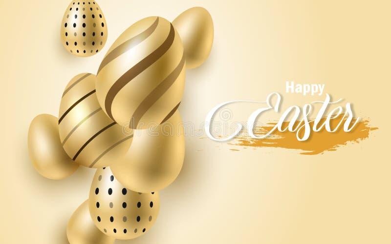 Szczęśliwy Wielkanocny literowania tło z realistyczny złoty połysk dekorującymi jajkami, confetti, złoty szczotkarski pluśnięcie  ilustracja wektor