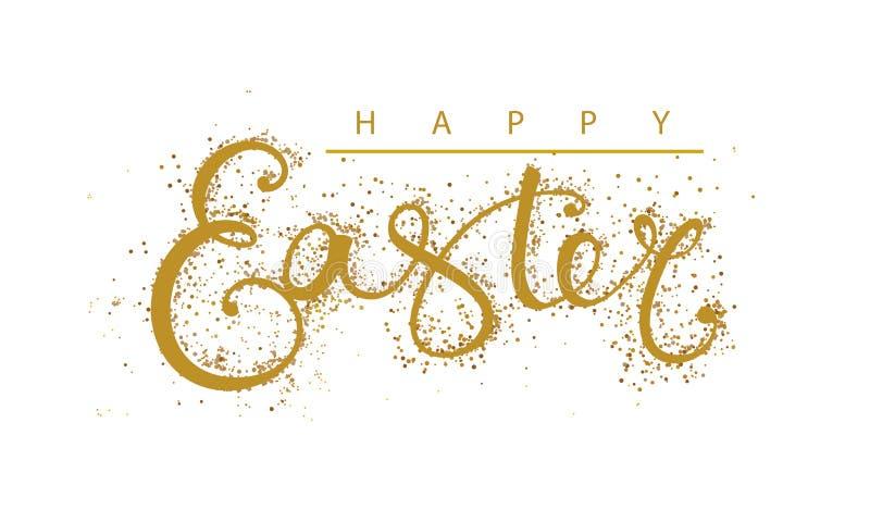 Szczęśliwy Wielkanocny literowania złoto ilustracja wektor