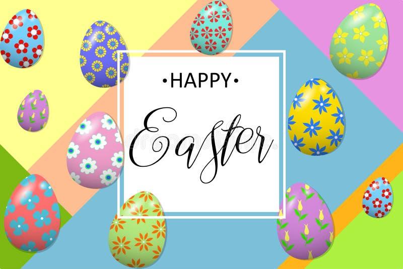 Szczęśliwy Wielkanocny literowanie z kolorowymi Wielkanocnymi jajkami na nowożytnym geometrycznym tle Szablon dla Wielkanocnego p royalty ilustracja