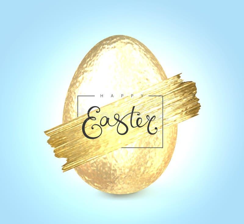 Szczęśliwy Wielkanocny literowanie z złocistym błyskotliwości muśnięciem royalty ilustracja