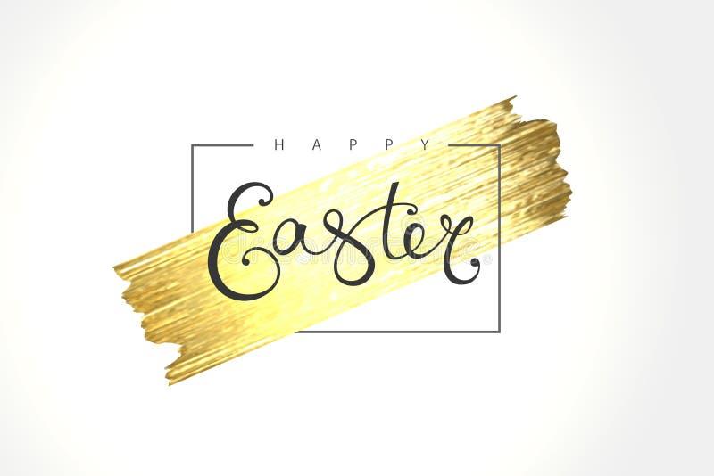 Szczęśliwy Wielkanocny literowanie z złocistym błyskotliwości muśnięciem ilustracji