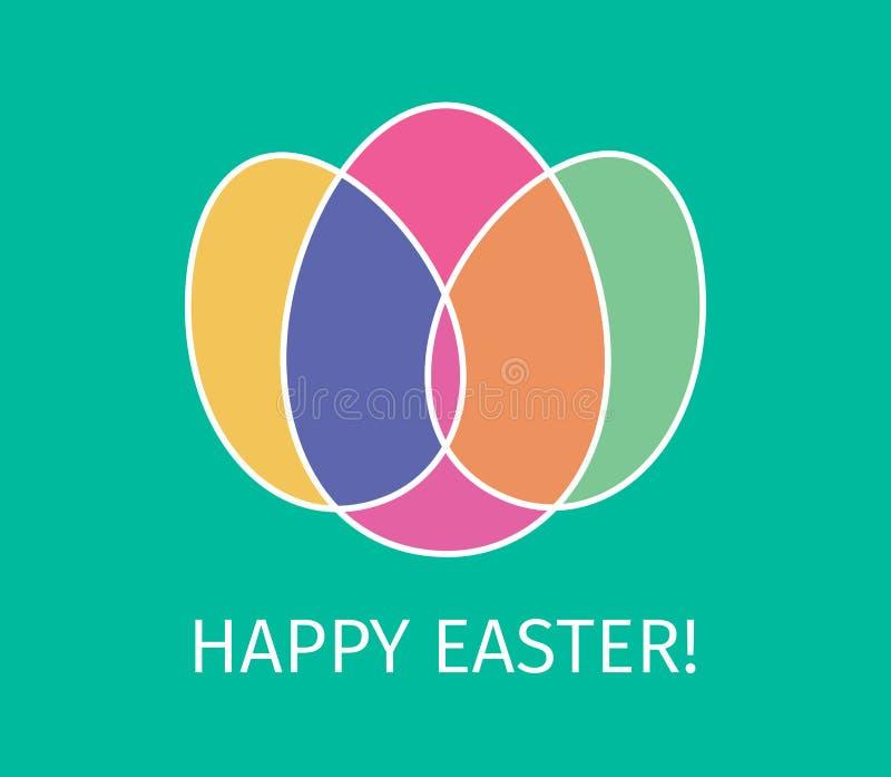 Szczęśliwy Wielkanocny Płaski projekt od jajek ilustracja wektor