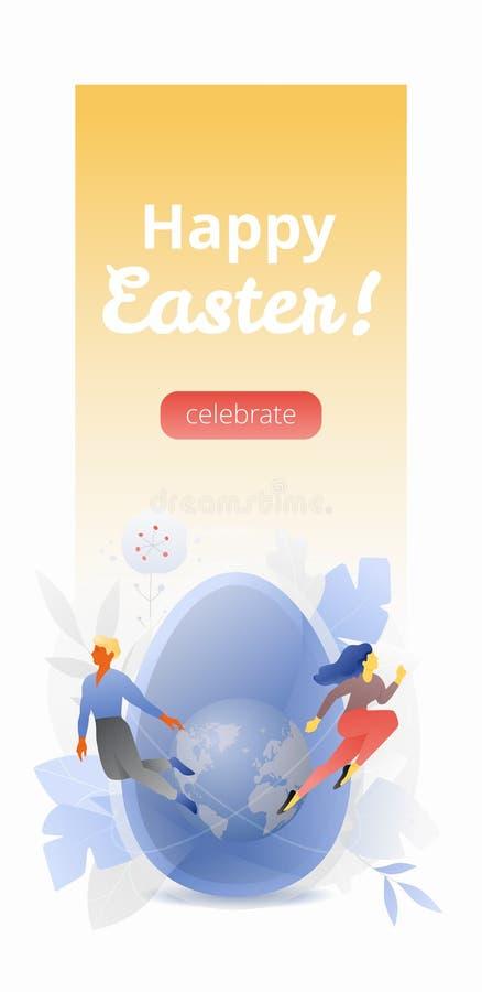Szczęśliwy Wielkanocny Pionowo sztandar zdjęcia stock